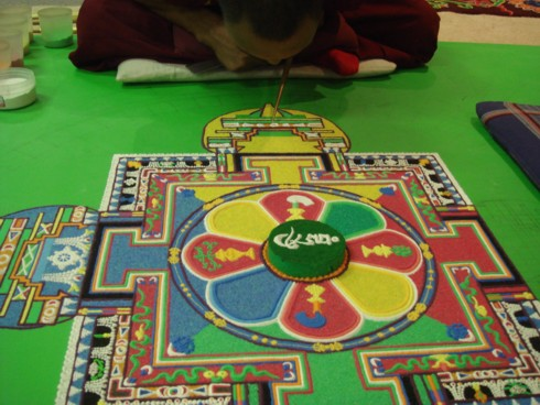 Monks creating mandala